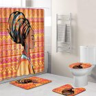 4Pcs Set Stylish African Women Series Pattern Bath Set Shower Curtain Non Slip Toilet Pad Cover Bath MatO99Y