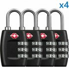4Pcs TSA Approved Luggage Lock Travel 3 Digit Combination Suitcase Padlock Reset As shown