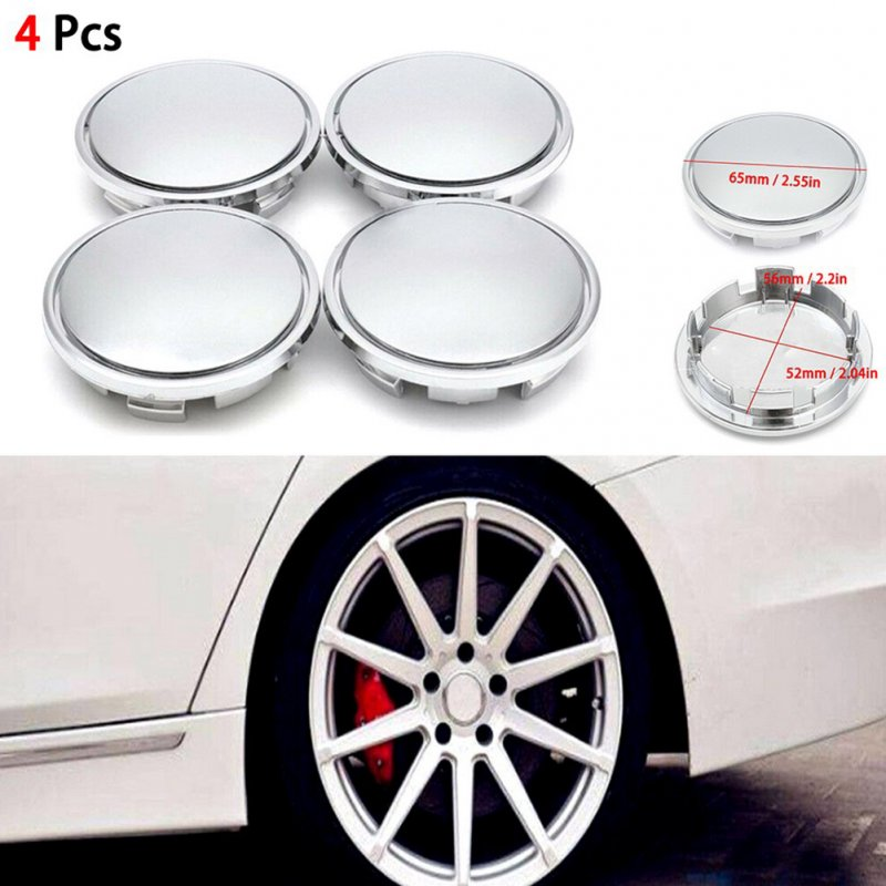4Pcs Universal Chrome Car Wheel Center Caps Tyre Rim Hub Cap Cover ABS Plastic Silver