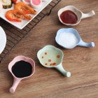 4Pcs Wheat Straw Sauce Dipping Bowls Seasoning Dish with Chopsticks Holder Handle 4 piece set