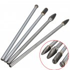 4Pcs Working Tungsten Steel Long Burr Set Grinding Head Drill Bits Shank Rotary Files Double Cut Milling Tool Carving 150-160mm 4pcs/set