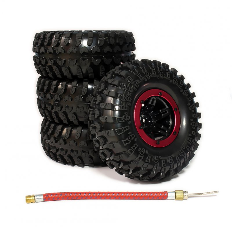 4pcs 2.2 Inch Inflatable Beadlock Tire Air Pneumatic Wheel For 1/10 RC Crawler Truck Car red