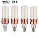 4pcs 85-265v E14 E27 Led Lamp High Bright Constant Current 3 Colors Dimming LED Candle Bulb 16w Rose gold_Tri-tone light_E14