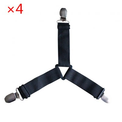 4pcs Bed Suspender Straps Mattress Fastener Holder Triangle Grippers Sheet Clips Black