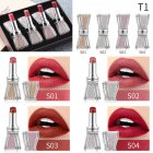 4pcs Crystal Rhinestone Bow Lipstick Makeup Lipstick Set Long Lasting Moist Non-stick Cup Makeup Gift 01#