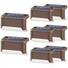 4pcs LED Solar Stairs Lights Outdoor Waterproof Garden Pathway Courtyard Patio Steps Fence Lamps Brown warm light