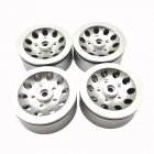 4pcs Mn Model Metal Clamping Pressure Tire Beadlock Wheel Rim & Rubber Tires Set For Wpl 1/16 Mn45 D90 91 96 99 99s 99a 1/12 Rc Car Model Silver_4PCS