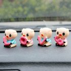 4pcs Set Cute Small Love Pig Cartoon Car Ornament Automobile Auto Dashboard Decoration Toy Gift