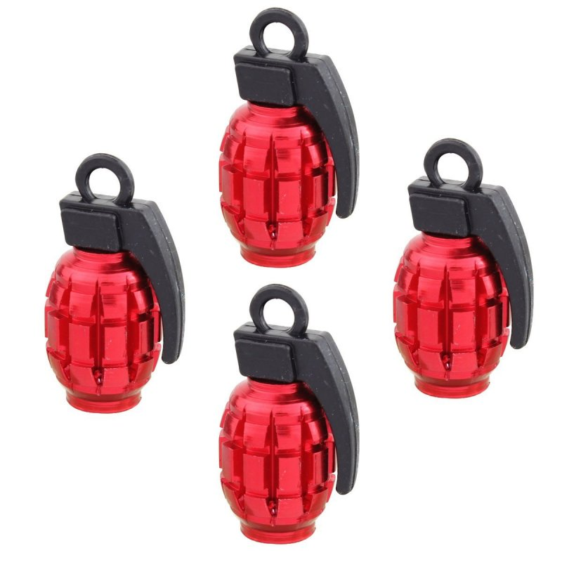 4pcs Universal Wheel Tyre Valve Caps Aluminum Grenade Bomb Shape Bicycle Tire Air Valve Cover for Car Truck Motocycle red