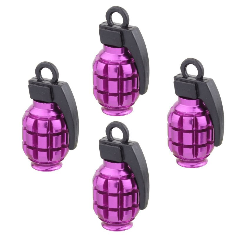 4pcs Universal Wheel Tyre Valve Caps Aluminum Grenade Bomb Shape Bicycle Tire Air Valve Cover for Car Truck Motocycle purple
