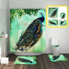 4pcs/set Bathroom Mat Carpet Shower Curtain Toilet Lid Cover Peocock Print Bathroom Set As shown_Set