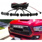 4pcs/set Car  Grill  LED Lights With Harness Fuse Upgrade For Automobile Modification Black shell white light