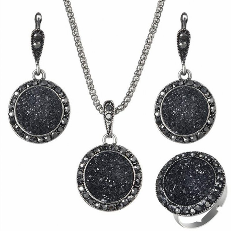4pcs/set Fashionable Vintage Black Round Stone Resin Necklace Earrings Ring Dress Jewelry black