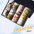 4pcs/set Man Box-packed Fashion Breathable Underwear Colorful Boxers Map_XXXL