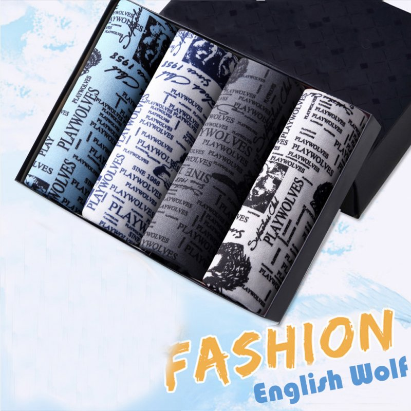 4pcs/set Man Underwear Box-packed Fashion Breathable Colorful Boxers Wolf_XL