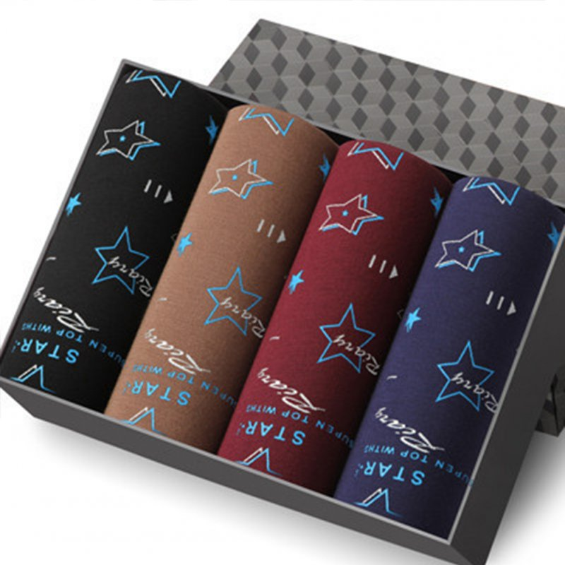 4pcs/set Men Fashion Printing Breathable U Convex Design Soft Boxers star_XL