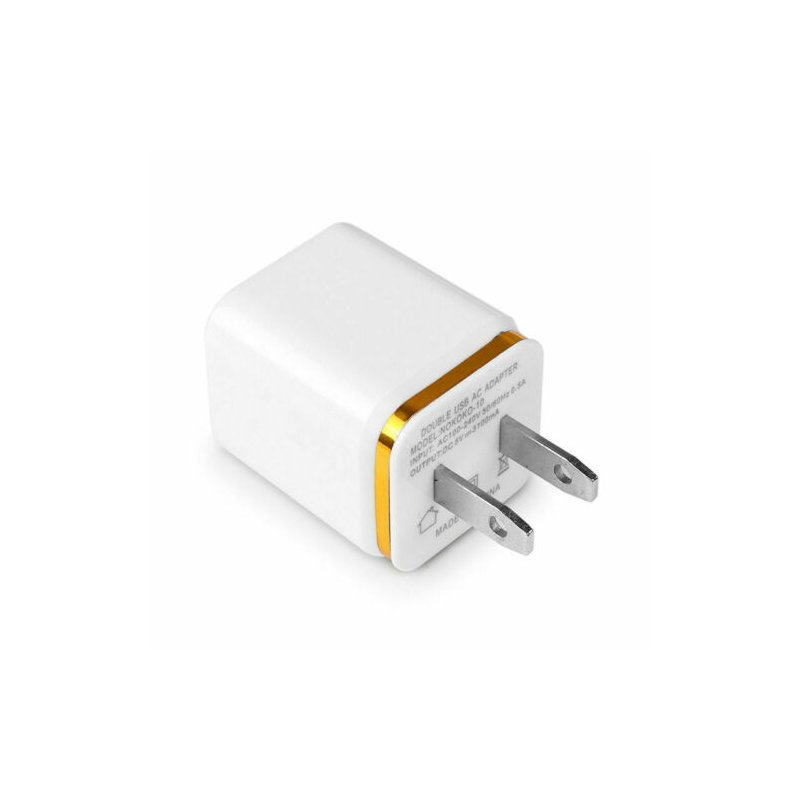 5.1A USB Power Adapter Wall Charger 4 Ports Travel Charger Cube Block Gold_US plug