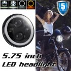 5.75 Inch Round Halo LED Headlight Angel Eyes Lamp for Motorcycle  Black shell