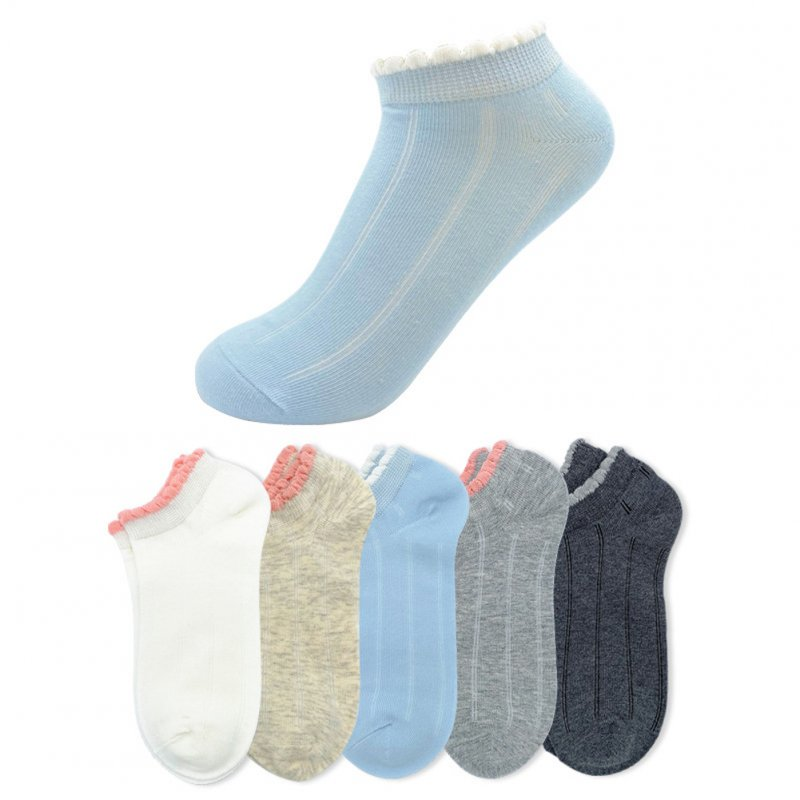 5 Pairs Breathable Mesh Socks Casual Cotton Lace Boat Socks for Adults Color mixing_One size