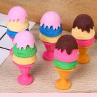 5 Pcs Cute Cartoon Ice Cream Shape Erasers School Supplies (Random Color) random