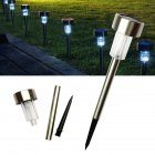 5 Pcs LED Solar Stainless Steel Ground Light Outdoor Solar Garden Light Lawn Tube Light  White light
