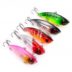 5 Pcs VIB Life-like Fishing Lures 5 Color Fishing Tackle Artificial Hard Bass Baits with Dual Fishhook