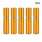 5 Pcs/set 5ml Travel Cosmetic Bottle Portable Anodized Aluminum Empty Perfume Sub-bottle Golden