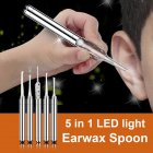 5 Pcs set Flashlight Ear Pick Luminous Earwax Spoon Tweezers Ear Cleaning Tool Set Random Color