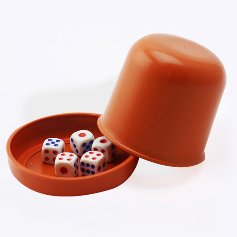 5 Pieces Dices With 1 Pieces Dice Cup Board Game Gambling Dices Dice Cup Set Ordinary thickened orange dice Gu