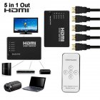 5 Port HDMI Splitter Switch Selector Switcher Hub IR Remote Control 1080p for HDTV PS3 black