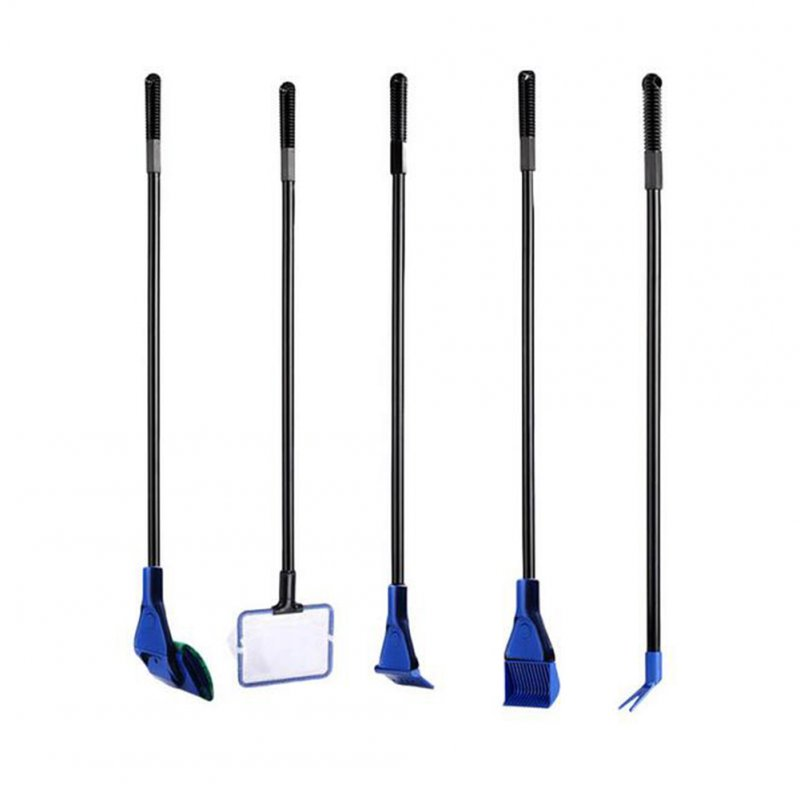 5-in-1 Fish Tank Aquarium Long-handle Cleaning Tool Set Glass Brush Cleaner  blue