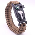 5-in-1 Multi-function Outdoor Seven-core Umbrella Rope Lanyard Camping Adventure Bracelet brown