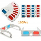 50/100 Pcs Universal Paper Anaglyph 3D Glasses Paper 3D Glasses View Anaglyph Red/Blue 3D Glass for Movie Video