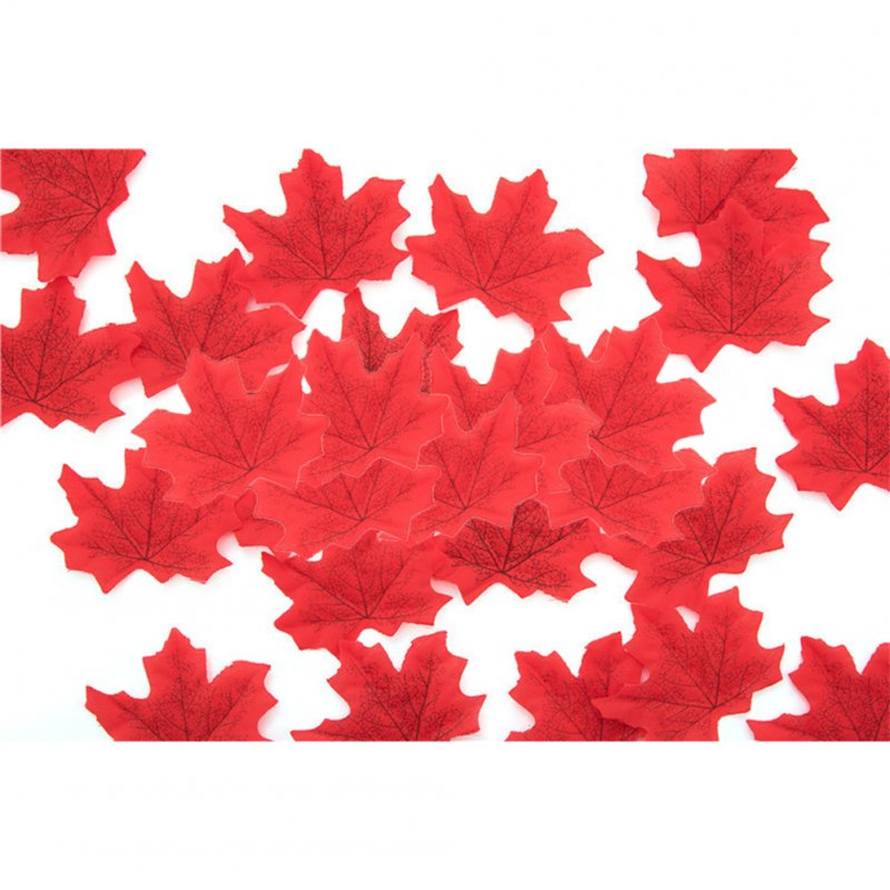 50 PCS/Set Simulation Maple Leaves for Wedding Party Festival Decoration Photo Props... No. 5 red (50 pieces)