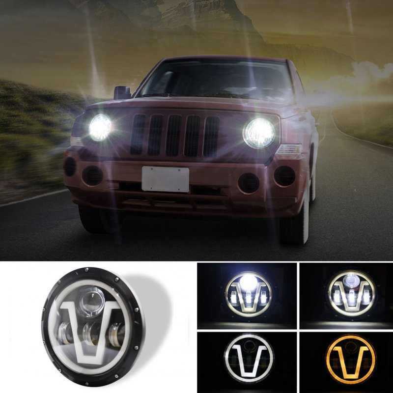 500 W 30000LM 7 inch LED Headlights For Jeep Wrangler Led Beam Headlamp H4/H13 (single row trisomy) V type Led Headlight