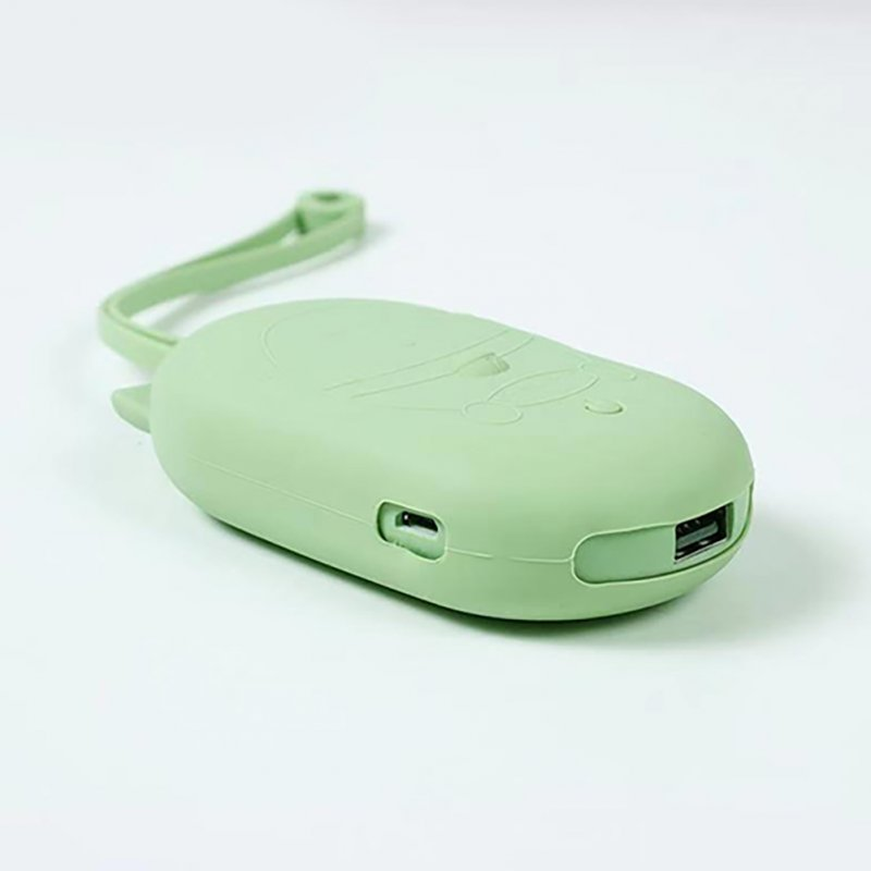 5000mAh USB Charging Electric Silicone Lovely Cat Shaped Hand Warmer Avocado green