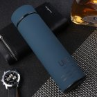 500ml Rubber Paint Vacuum Flask Thermos  Bottle With Tea Mesh Water Cup blue