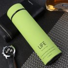 500ml Rubber Paint Vacuum Flask Thermos  Bottle With Tea Mesh Water Cup green