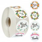 500pcs Thank You Sticker Label with 4 Garlands Pattern for Envelope Sealing Decoration As shown_1inch (25mm)