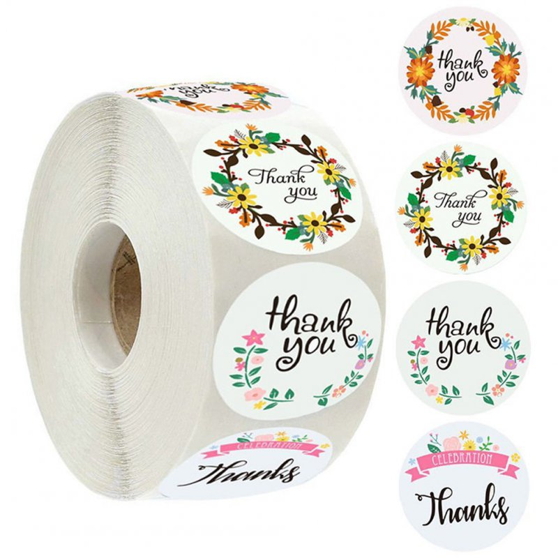 500pcs Thank You Sticker Label with 4 Garlands Pattern for Envelope Sealing Decoration As shown_1.5inch (38mm)