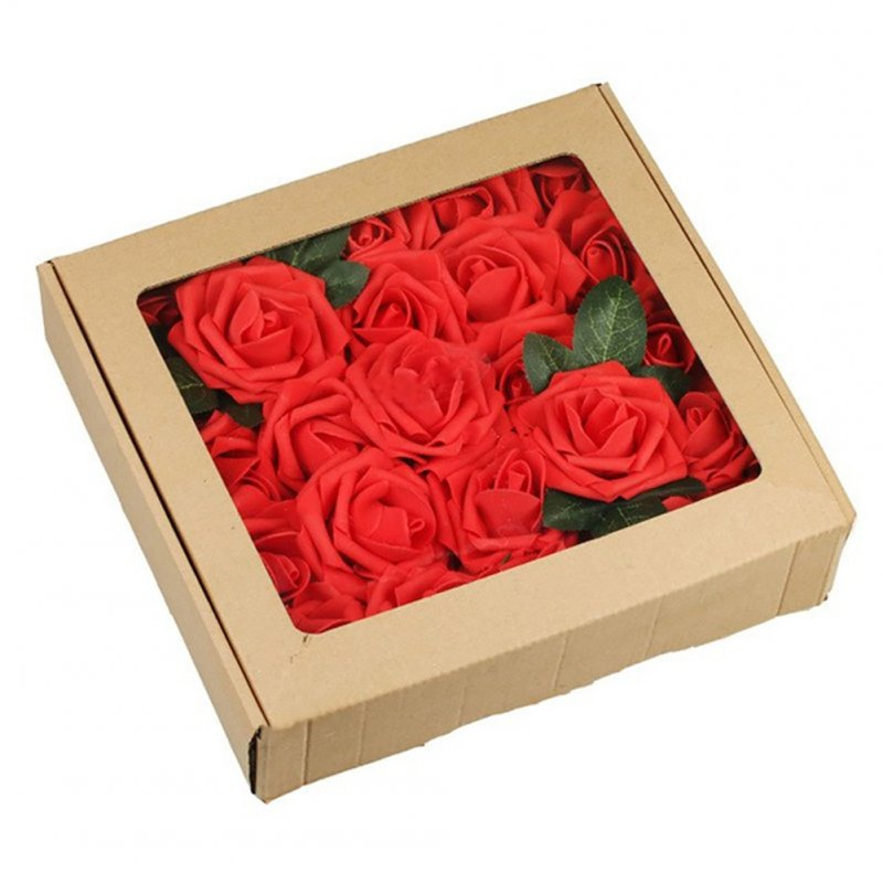 50Pcs 8CM Artificial Rose Fake Flower with Leaves for Home Wedding Party Decoration Red