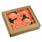 50Pcs 8CM Artificial Rose Fake Flower with Leaves for Home Wedding Party Decoration Orange