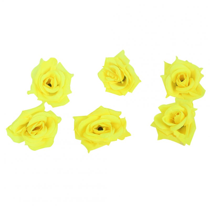 50Pcs Artificial Rose Heads for Home Bouquet Wedding Decoration Yellow 2#