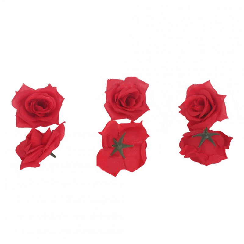 50Pcs Artificial Rose Heads for Home Bouquet Wedding Decoration Bright red 1#