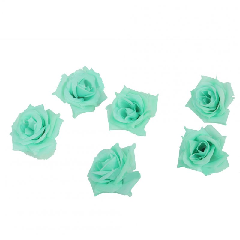 50Pcs Artificial Rose Heads for Home Bouquet Wedding Decoration Tiffany Blue 3#