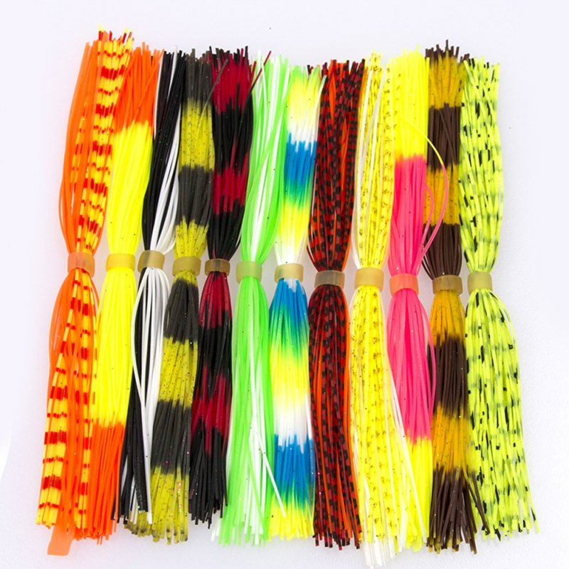 50pcs/bundles Mixed Color Silicone Skirts for Spinnerbait Buzzbait Rubber Jig Lures Squid Skirts Random color mixing_50 pieces / bundle 12 bundles