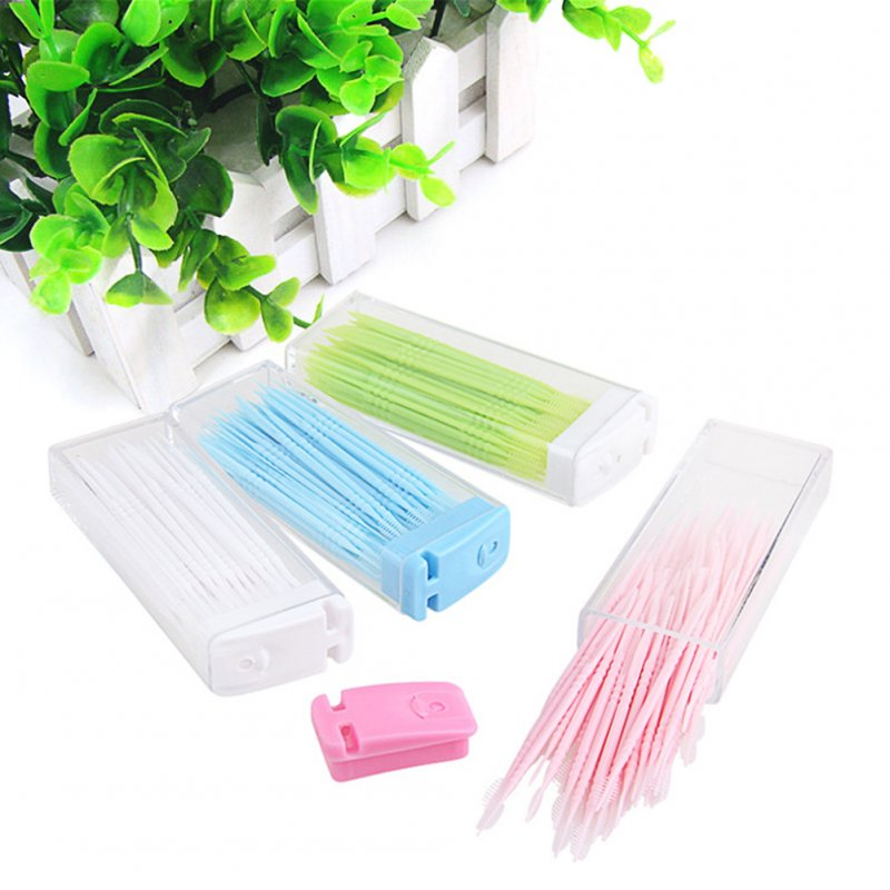50pcs/lot Portable Disposable Toothpicks Teeth Cleaning Dental Flosser Travel Two-head Floss Sticks Color Random