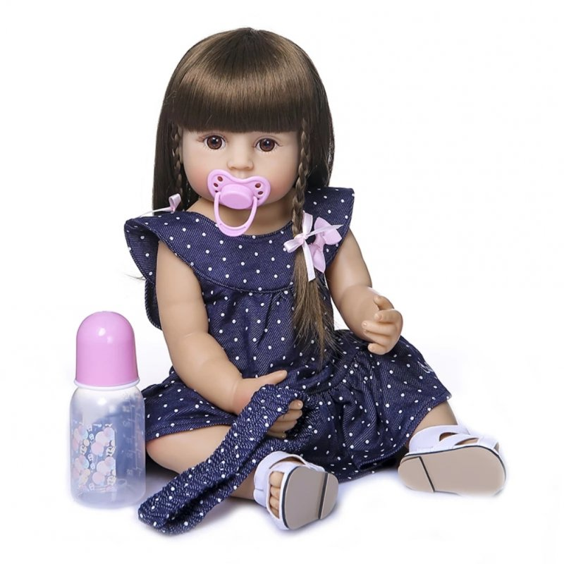 55CM Simulate Silicone Doll Nipple Bottle Toy Kids Children Christmas Gift Brown eyes
