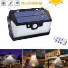 55LEDs USB Rechargeable Solar Remote Control Induction Wall Lamp White light 6500K