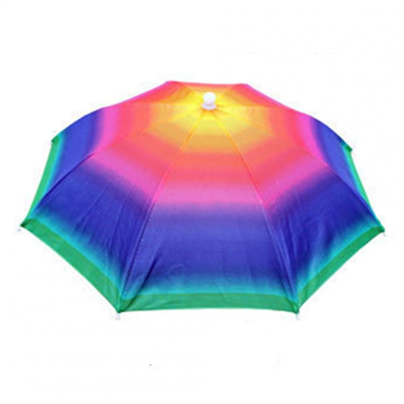 55cm Umbrella Hat Foldable Sunscreen Camping Fishing Hiking Headwear Cap Sun Rain Umbrellas Multicolor_55cm